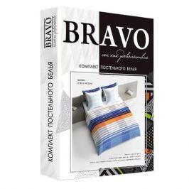 Комплект постельного белья Bravo Поплин Евро Марино, р-р: под. 205х215см, прост. 220х215см, нав. 50х70см 2шт, поплин, 100% хл,115 гр/м2