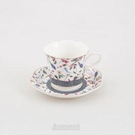 Пара чайная HOME CAFE Полевые цветы отводка золото 220мл, фарфор