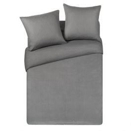 Комплект постельного белья Stripe 2-спальный, наволочка 50х70см 2шт, серый, сатин-страйп