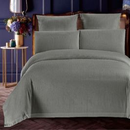 Комплект постельного белья Stripe Евро, наволочка 70х70см 2шт, серый, сатин-страйп