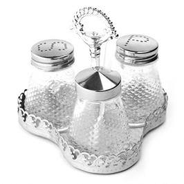 Набор для специй солонка/перечница/баночка для горчицы на металлической подставке, 11*11*10см.