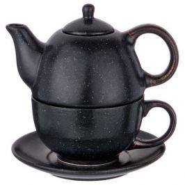 Набор чайный на 1 персону Лимаж черный чайник 400мл и чашка 329мл, керамика