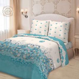 Комплект постельного белья для Snoff Сатин на рез.Евро Ривьера,р-р:прост.на рез.180х200см,под.200х220см,нав.70х70см2шт,сатин,100%хл,115гр/м2