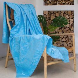 Простыня махровая Поляны, размер: 150х200см, 100%хлопок, голубой, 400 гр/м2