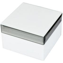 Шкатулка Имидж, белая, размер: 12,5х12,5х8см, мдф/стекло