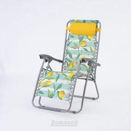 Шезлонг Лимоны, 165х65х110 см, желтая подушка, оксфорд/сталь