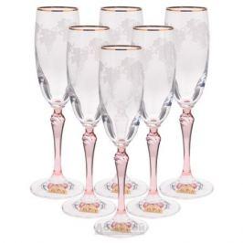Набор бокалов для шампанского RONA Люция Розовая лоза, 160мл, 6шт, деколь, хрустальное стекло, 2227/18720/160