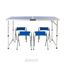 Набор мебели для пикника: стол 120х60х70см, металл, МДФ; 4 стула 32х32х33см, металл, полиэстер