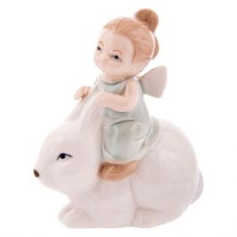 Фигурка декоративная Ангелочек с кроликом, размер: 9х5х11см, фарфор