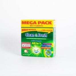 Таблетки д/ПММ CLEAN&FRESH All in 1, 60шт + 1 таб. очист.