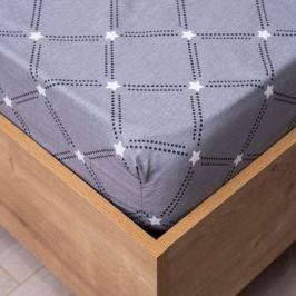 Простыня СТМ Поплин Евро на резинке, размер: 180х200см, поплин, 100%хл, 115гр/м2, звезды, серый