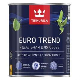 Краска в/д для обоев и стен моющаяся EURO TREND, матовая, 0,9л, база A
