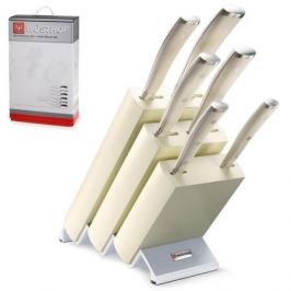 Набор из 6 кухонных ножей и подставки WUSTHOF Ikon Cream White арт. 9877 WUS