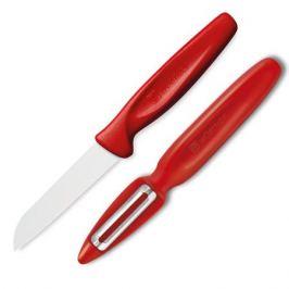 Набор ножей для чистки и нарезки овощей и фруктов, с плавающим лезвием, рукоять красная, серия Sharp Fresh Colourful, WUESTHOF, 9314r-3, Золинген, Германия