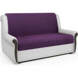 Диван-аккордеон Шарм-Дизайн Аккорд М 100 фиолетовая рогожка и экокожа белая
