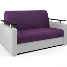 Диван-аккордеон Шарм-Дизайн Шарм 120 фиолетовая рогожка и экокожа белая