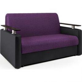 Диван-аккордеон Шарм-Дизайн Шарм 140 фиолетовая рогожка и черная экокожа