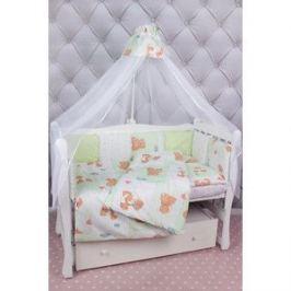 Комплект в кроватку AmaroBaby 18 предметов (6+12 подушек-бортиков) Мишка (зеленый)