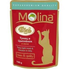 Паучи Molina Taste & Quality Tuna Light Meat & Chicken in Jelly тунец и цыпленок в желе для кошек 100г (1075)