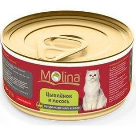 Консервы Molina Натурально мясо в желе цыпленок и лосось для кошек 80г (0962)