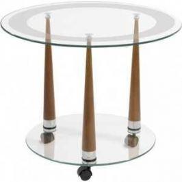 Стол журнальный Мебелик Квартет 13 средне-коричневый/прозрачное