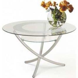 Стол журнальный Мебелик Дуэт 4 металлик/прозрачное