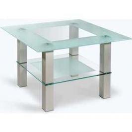 Стол журнальный Мебелик Кристалл 1 алюминий/прозрачное