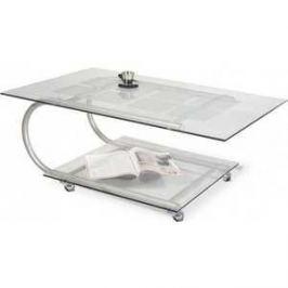 Стол журнальный Мебелик Дуэт 10 металлик/прозрачное