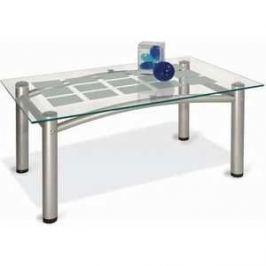 Стол журнальный Мебелик Робер 3М металлик/прозрачное