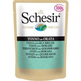 Паучи Schesir Nature for Cat Tuna with Sea Bream кусочки в желе с тунцом и дорадо (морским лещем) для кошек 100г (С581)