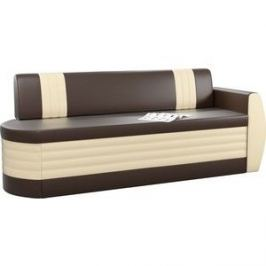 Кухонный диван АртМебель Токио ОД эко-кожа коричнево-бежевый правый