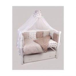 Комплект постельного белья AmaroBaby 18 предметов (6+12 подушек-бортиков) Royal Baby ( бязь,коричневый)