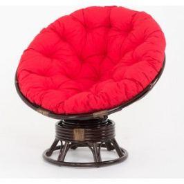 Кресло-качалка Vinotti Papasan 23/01В темный коньяк красная подушка