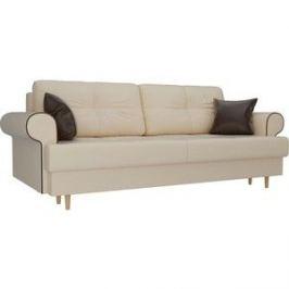 Прямой диван Лига Диванов Сплин экокожа бежевый подушки коричневые