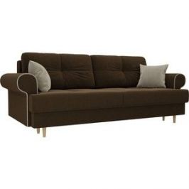 Прямой диван Лига Диванов Сплин микровельвет коричневый подушки бежевые