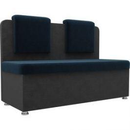 Кухонный прямой диван АртМебель Маккон 2-х местный велюр синий/серый