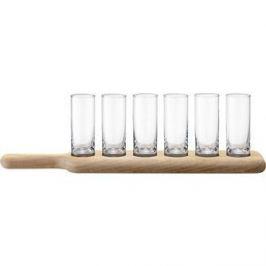 Набор из 6 стопок и деревянной подставки 40 см прозрачное стекло LSA International Paddle (G1049-03-301)