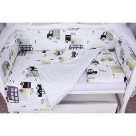 Комплект в кроватку AmaroBaby WB 7-ми предметный на молнии ГОРОД (бязь, белый)