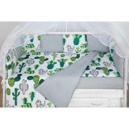 Бортик в кроватку AmaroBaby WB 12 предметов (12 подушек-бортиков) КАКТУСЫ (белый)