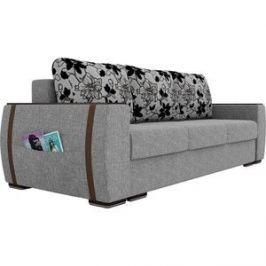 Прямой диван Лига Диванов Брион рогожка серый, подушки рогожка на флоке