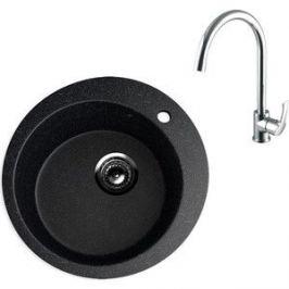 Кухонная мойка и смеситель EcoStone ES-013 Lemark Plus Strike черная (ES-13-308, LM1105C)