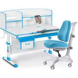 Комплект мебели (стол+полка+кресло) Mealux Evo-50 BL (Evo-50 BL + Y-528 KBL) белая столешница/ пластик голубой