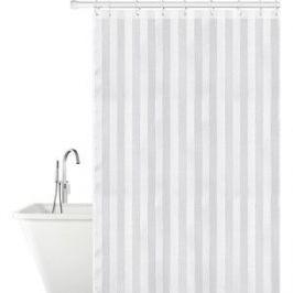 Штора для ванной комнаты Tatkraft HARMONY тканевая, 12 овальных колец в комплекте, приятная на ощупь, водоотталкивающая пропитка (18792)