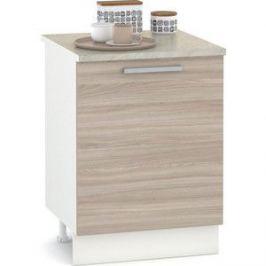 Стол 600 Моби Кухня Лима белый/ясень шимо светлый/столешница мрамор бежевый