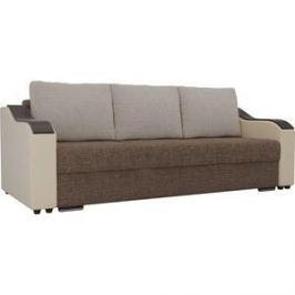 Прямой диван Лига Диванов Монако рогожка коричневый подлокотники экокожа бежевые подушки рогожка бежевая