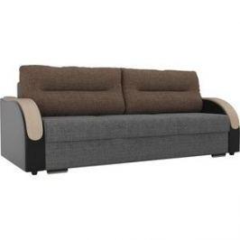 Прямой диван Лига Диванов Дарси рогожка серый подлокотники экокожа черные подушки рогожка коричневая