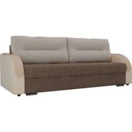 Прямой диван Лига Диванов Дарси рогожка коричневый подлокотники экокожа бежевые подушки рогожка бежевая
