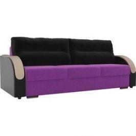 Прямой диван Лига Диванов Дарси микровельвет фиолетовый подлкотники экокожа черные подушки микровельвет черные