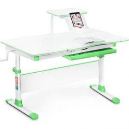 Детский стол Mealux EVO-40 lite Z столешница белая/ножки белые с зелеными накладками