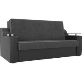 Прямой диван аккордеон АртМебель Сенатор велюр серый экокожа черный (160)